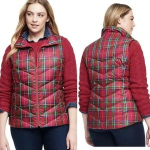 Lands End Red Multi Plaid Puffer 600 Down Vest